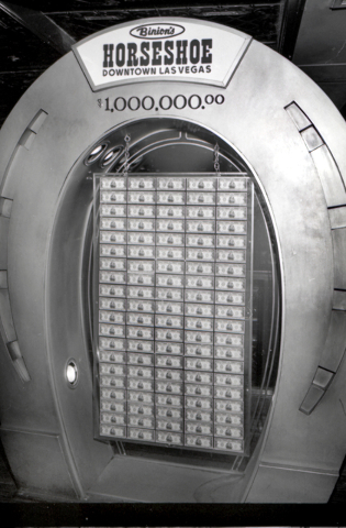 Binion's Horseshoe Club Million Dollar Display is seen in this Las Vegas News Bureau file photo from Nov. 14, 1990. Photo/Las Vegas News Bureau