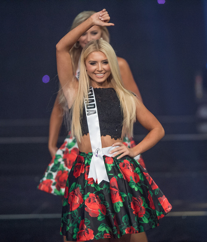 The 2016 Miss Teen USA Pageant on Saturday, July 30, 2016, at The Venetian Theater. Karlie Hay of Texas was crowned Miss Teen USA. Miss Nevada Teen USA Carissa Morrow of Henderson is pictured here ...