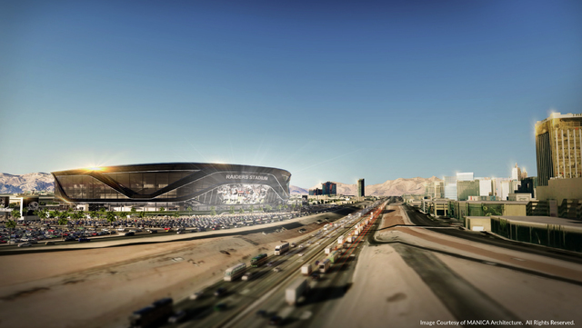 A rendering shows how the proposed 65,000-seat domed stadium for Las Vegas might look at the developers preferred site on acreage west of Interstate 15, across from Mandalay Bay, north of Russell  ...