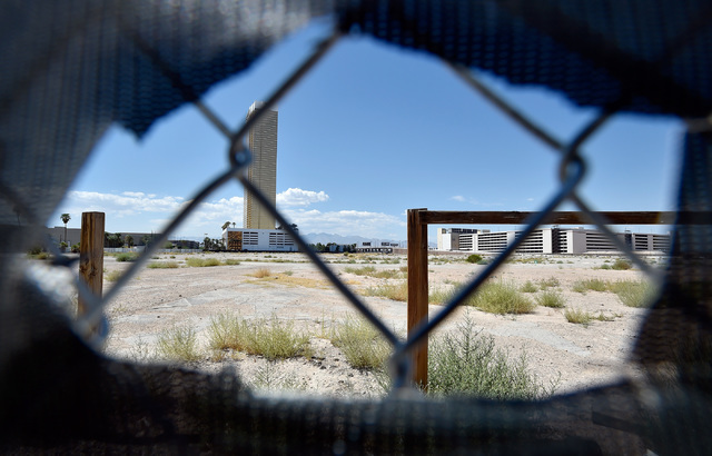 The construction site of the planned $2 billion Alon project on the Strip north of Spring Mountain Road is seen Monday, Aug. 29, 2016, in Las Vegas. (David Becker/Las Vegas Review-Journal) Follow  ...