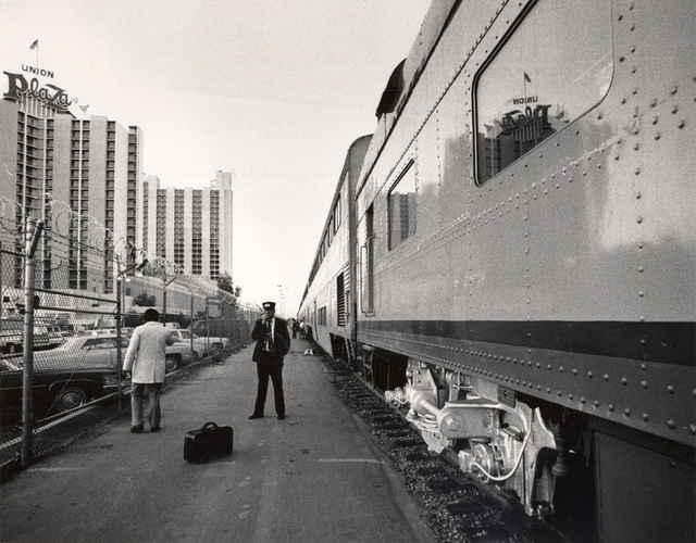 An Amtrak train is seen next to The Plaza hotel-casino in downtown Las Vegas on Oct. 24, 1986. Amtrak's Desert Wind route stopped in Las Vegas from 1978 to 1997. (Rene Germanier/Las Vegas Review-J ...