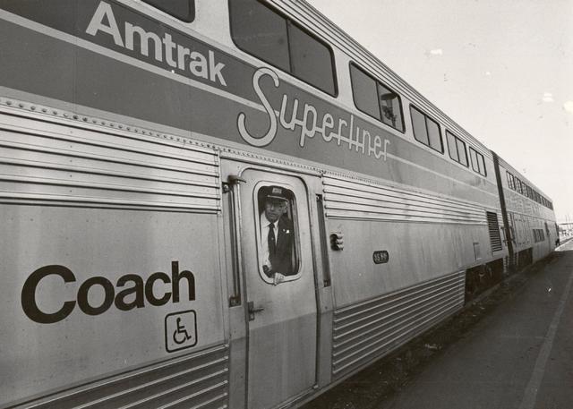 An Amtrak Superliner stops in Las Vegas on Jan. 14, 1981. (Gary Thompson/ Las Vegas Review-Journal)