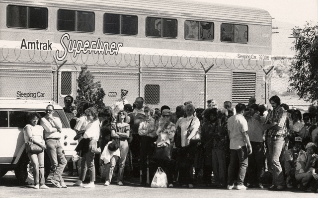 An Amtrak Superliner in Las Vegas on May 18, 1986. Amtrak operated the Desert Wind route from 1978 to 1997 from Los Angeles to Salt Lake City, with a stop in Las Vegas. (Gary Thompson/ Las Vegas R ...