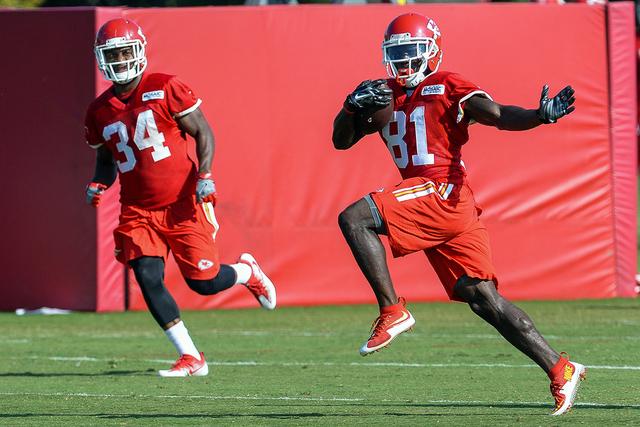 Kansas City Chiefs wide receiver Tyreek Hill runs the ball during NFL football training camp in St. Joseph, Mo., Thursday, Aug. 18, 2016. (Dougal Brownlie/The St. Joseph News-Press via AP)
