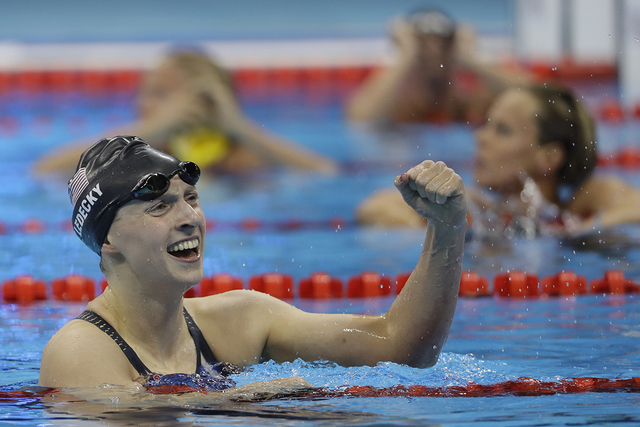 United States' Katie Ledecky wins the gold medal in the women's 200-meter freestyle during the swimming competitions at the 2016 Summer Olympics, Tuesday, Aug. 9, 2016, in Rio de Janeiro, Brazil.  ...