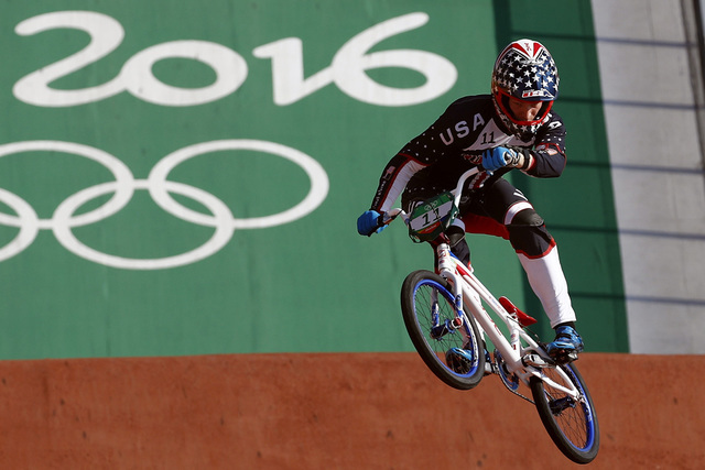 Connor Fields of the United States competes in the men's seeding run at the Olympic BMX Center during the 2016 Summer Olympics in Rio de Janeiro, Brazil, Wednesday, Aug. 17, 2016. (Patrick Semansk ...