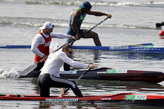 Azerbaijan's Valentin Demyanenko paddles for silver during men's canoe single 200m final during the 2016 Summer Olympics in Rio de Janeiro, Brazil, Thursday, Aug. 18, 2016. (Darron Cummings/AP)