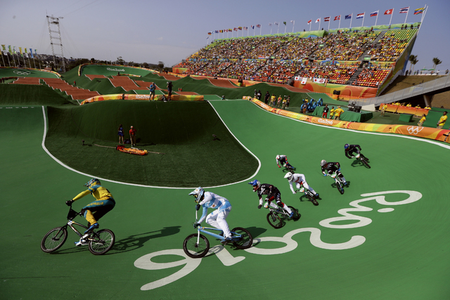 Cyclists, from left, Anthony Dean of Australia, Gonzalo Molina of Argentina, Corben Sharrah of the United States, Tore Navrestad of Norway and Connor Fields of the United States compete in the BMX ...