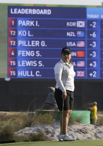 Inbee Park of South Korea stands in front of the leaderboard as she waits to play on the 18th hole at the 2016 Summer Olympics in Rio de Janeiro, Friday, Aug. 19, 2016. (Chris Carlson/AP)