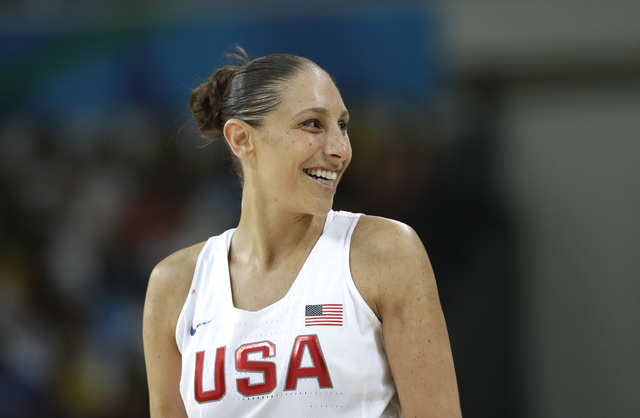 United States' Diana Taurasi smiles during a women's gold medal basketball game against Spain at the 2016 Summer Olympics in Rio de Janeiro, Brazil, Saturday, Aug. 20, 2016. (AP Photo/Eric Gay)