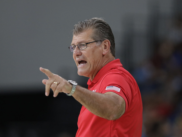 United States head coach Geno Auriemma talks to his players during a women's gold medal basketball game against Spain at the 2016 Summer Olympics in Rio de Janeiro, Brazil, Saturday, Aug. 20, 2016 ...