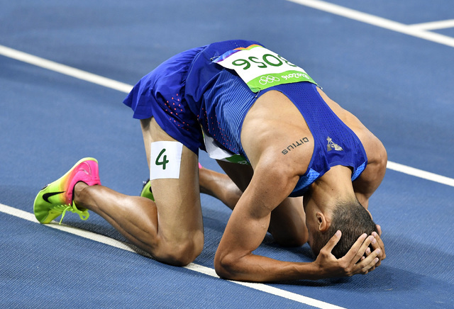 United States' Matthew Centrowitz wins the men's 1500-meter final during the athletics competitions of the 2016 Summer Olympics at the Olympic stadium in Rio de Janeiro, Brazil, Saturday, Aug. 20, ...