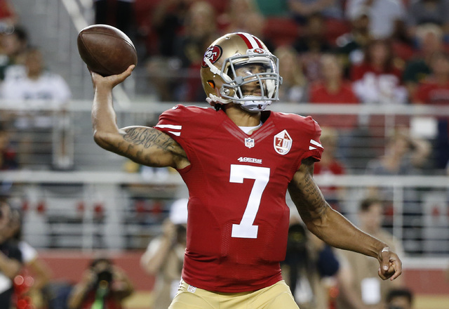 San Francisco 49ers quarterback Colin Kaepernick throws the ball during the first half of an NFL preseason football game against the Green Bay Packers on Friday, Aug. 26, 2016, in Santa Clara, Cal ...
