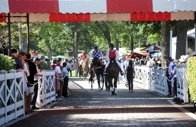 Anna Rae with jockey Jose Oritz walks on the new rubber paver block path way from the paddock area to the race track on opening day of the season at Saratoga Race Course in Saratoga Springs, N.Y., ...