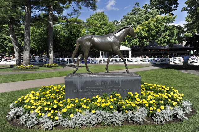 Statue of Sea Hero in the paddock area on opening day of the season at Saratoga Race Course in Saratoga Springs, N.Y., Friday, July 22, 2016. (Hans Pennink/AP)