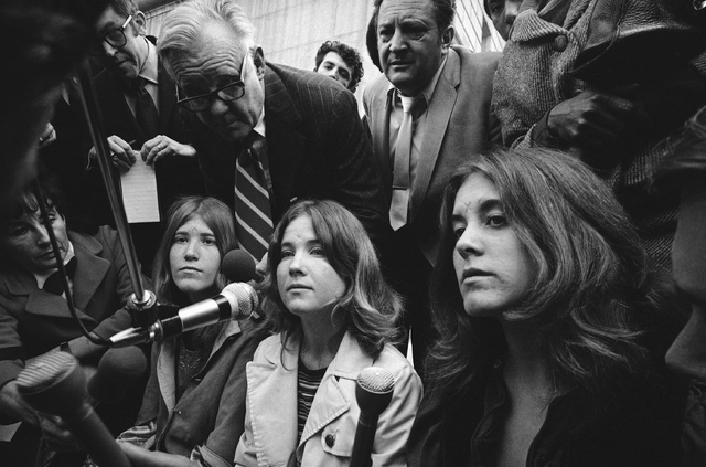 Sandra Good, center, a follower of Charles Manson and roommate of Lynette Alice Fromme is shown during a press conference in 1971. (AP Photo)