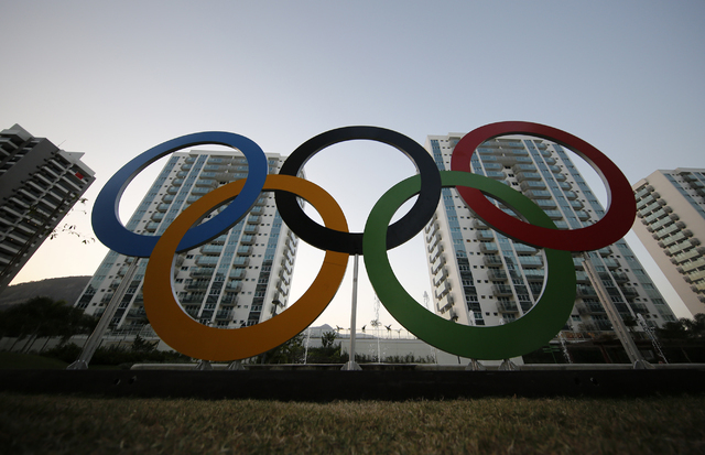 A representation of the Olympic rings is displayed in the Olympic Village in Rio de Janeiro, Brazil, Saturday, July 23, 2016. (Leo Correa/AP)