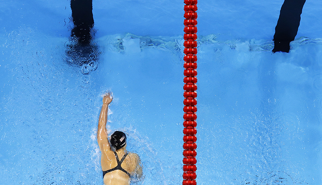 United States' Katie Ledecky heads to the finish in the 4 x 200m freestyle relay finals during to the swimming competitions at the 2016 Summer Olympics, Thursday, Aug. 11, 2016, in Rio de Janeiro, ...