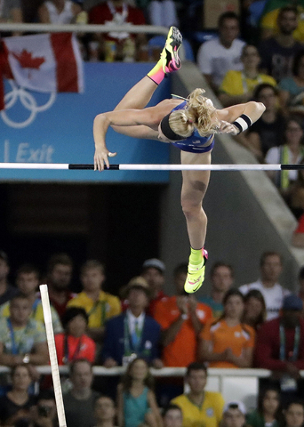 United States' Sandi Morris competes in the final of the women's pole vault during the athletics competitions at the 2016 Summer Olympics in Rio de Janeiro, Brazil, Friday, Aug. 19, 2016. (AP Phot ...