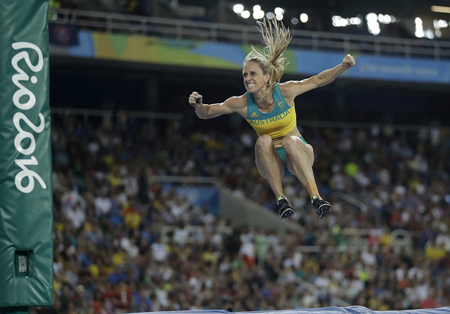 Australia's Alana Boyd celebrates after an attempt as she competes in the women's pole vault final, during the athletics competitions of the 2016 Summer Olympics at the Olympic stadium in Rio de J ...