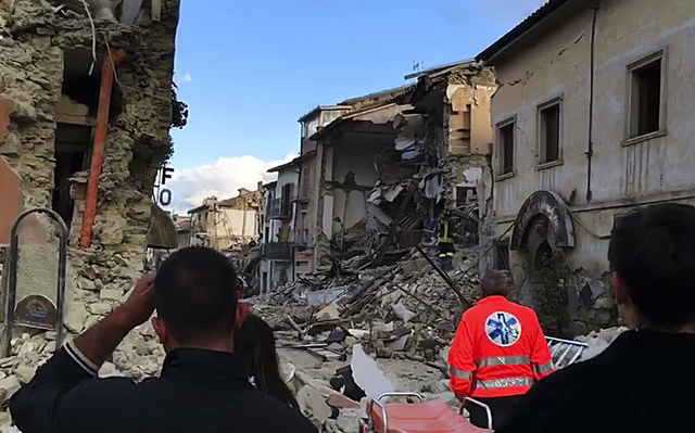 This still image taken from video shows the destruction in Amatrice, central Italy, where a 6.1 earthquake struck just after 3:30 a.m., Wednesday, Aug. 24, 2016. (AP Photo)
