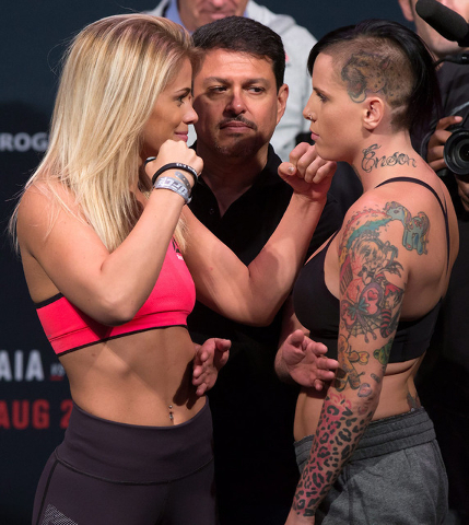 Paige VanZant, left, of the United States, and Bec Rawlings, of Australia, pose during the weigh-in for a UFC Fight Night event, in Vancouver, British Columbia, on Friday, Aug. 26, 2016. (Darryl D ...