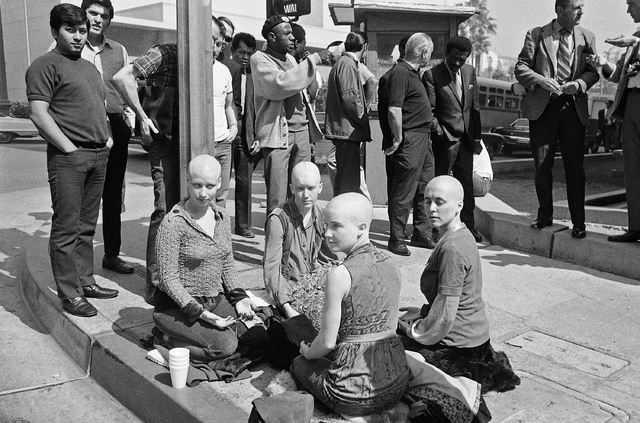 "Four young women members of the Charles Manson ""family"" kneel on the sidewalk outside the Los Angeles at Hall of Justice, March 29, 1971 with their heads shaved. (AP Photo/Wally Fong)"