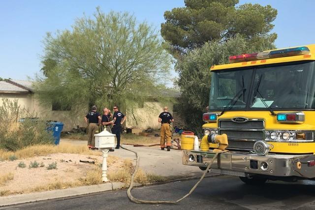 Clark County firefighters responded to a house fire at 901 Apache Lane in east Las Vegas Monday morning, Aug. 1, 2016. (Bizuayehu Tesfaye/Las Vegas Review-Journal Follow @bizutesfaye)