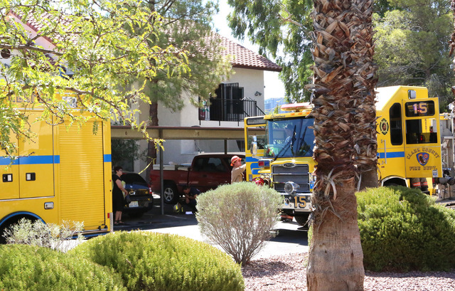 Clark County fire trucks are seen at 3711 S. Valley View Blvd., near Twain Avenue, after battling a two-story apartment complex fire, Monday, Aug. 15, 2016, in Las Vegas. (Bizuayehu Tesfaye/Las Ve ...