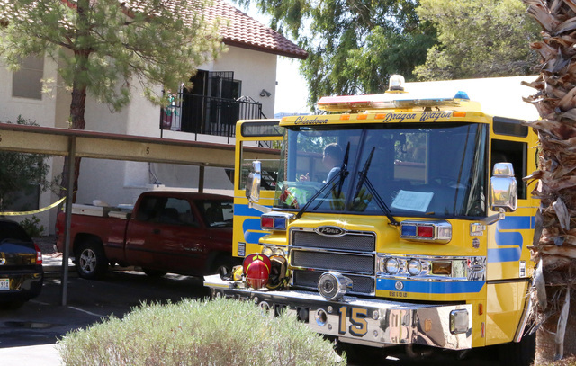 A Clark County fire truck is seen at 3711 S. Valley View Blvd., near Twain Avenue, after battling a two-story apartment complex fire, Monday, Aug. 15, 2016, in Las Vegas. (Bizuayehu Tesfaye/Las Ve ...