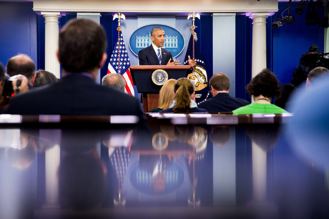 President Barack Obama speaks in the White House briefing room in Washington,Thursday, June 23, 2016, on the Supreme Court decision on immigration. A tie vote by the Supreme Court is blocking Pres ...