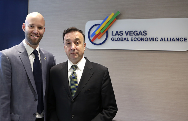 The Las Vegas Global Economic Alliance president & CEO, Jonas Peterson, left, and vice chairman, John Delikanakis, pose for a photo at the company's conference room on Thursday, Aug. 11, 2016. ...