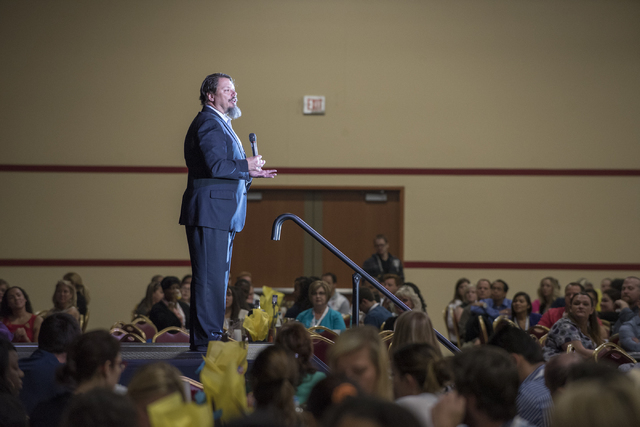 Clark County Superintendent Pat Skorkowsky addresses the crowd during a Clark County School District event to launch the 2016-17 academic year at the South Point hotel-casino in Las Vegas on Wedne ...