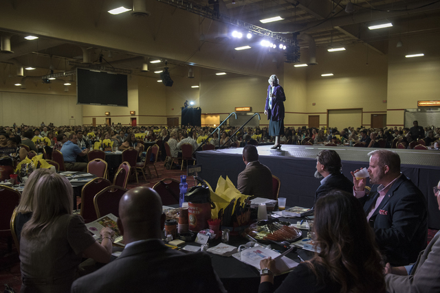 Trustees Carolyn Edwards,right, addresses the crowd during a Clark County School District event to launch the 2016-17 academic year at the South Point hotel-casino in Las Vegas on Wednesday, Aug.  ...