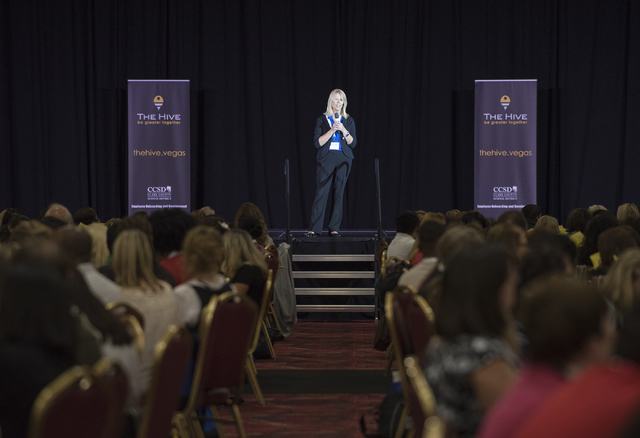 President of the Clark County Education Association Vikki Courtney addresses the crowd during a Clark County School District event to launch the 2016-17 academic year at the South Point hotel-casi ...