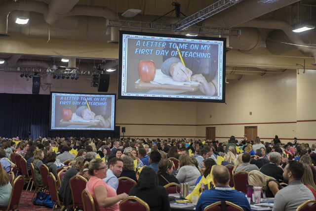 Clark County School District incoming teachers attend a Clark County School District event to launch the 2016-17 academic year at the South Point hotel-casino in Las Vegas on Wednesday, Aug. 17. 2 ...