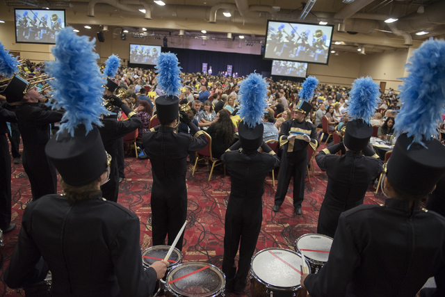 The Foothill High School Marching Band members perform during a Clark County School District event to launch the 2016-17 academic year at the South Point hotel-casino in Las Vegas on Wednesday, Au ...