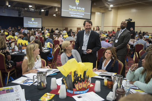 Clark County Superintendent Pat Skorkowsky, center, introduces himself to incoming teachers during a Clark County School District event to launch the 2016-17 academic year at the South Point hotel ...