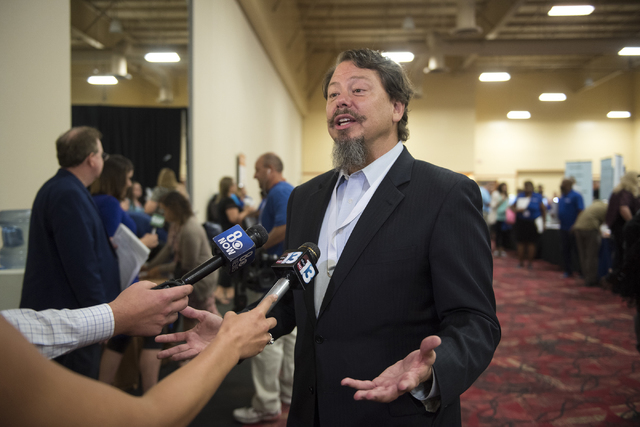 Clark County Superintendent Pat Skorkowsky speaks to the media during a Clark County School District event to launch the 2016-17 academic year at the South Point hotel-casino in Las Vegas on Wedne ...