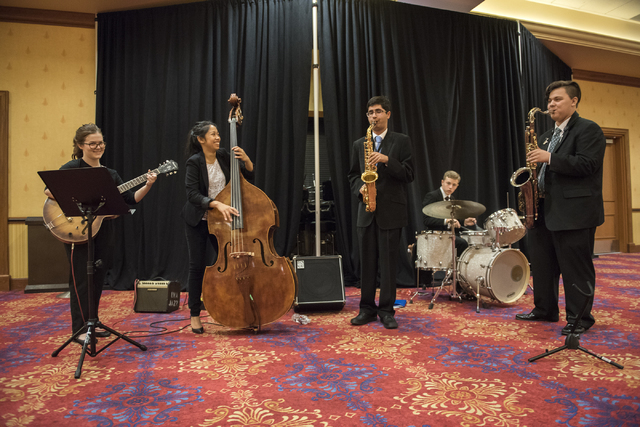The Las Vegas Academy Jazz Ensemble perform during a Clark County School District event to launch the 2016-17 academic year at the South Point hotel-casino in Las Vegas on Wednesday, Aug. 17. 2016 ...