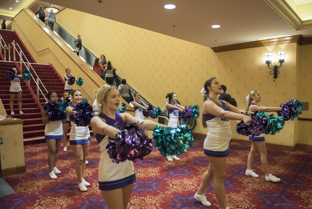 Silverado High School cheerleaders perform during a Clark County School District event to launch the 2016-17 academic year at the South Point hotel-casino in Las Vegas on Wednesday, Aug. 17. 2016. ...