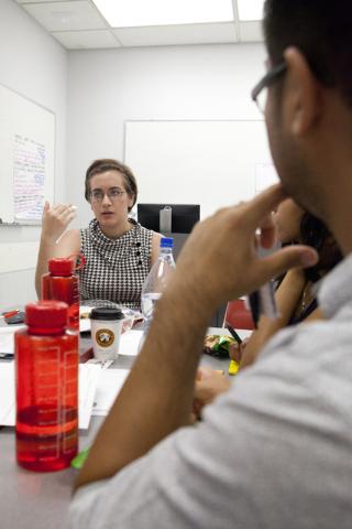 Allison Warren, left, speaks to her group at the Teach for America training program while Melvin Miyashiro Jr. listens on Tuesday, June 2, 2016, in Las Vegas.  (Loren Townsley/Las Vegas Review-Jou ...