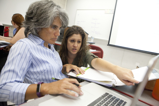 Teaching coach Jessica Stanley, right, instruct Lori Short on an assignment during the Teach for America training program on Tuesday, August 2, 2016, in Las Vegas. Loren Townsley/Las Vegas Review- ...