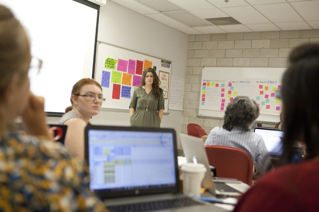 Teaching coach Jessica Stanley speaks to her classroom on Tuesday, August 2, 2016, at the University of Nevada, Las Vegas during the Teach for America training program.  (Loren Townsley/Las Vegas  ...