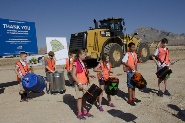 The Givens percussion ensemble was on hand in July 2016 to help mark the ground breaking of a new Las Vegas school in Summerlin. It will open for the 2017-2018 school year. Special to View