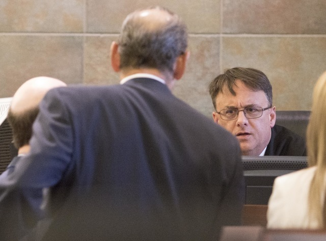 Judge Richard Scotti presides over the case of Bayzle Morgan at the Regional Justice Center in downtown Las Vegas on Wednesday, July 27, 2016. Richard Brian/Las Vegas Review-Journal Follow @vegasp ...