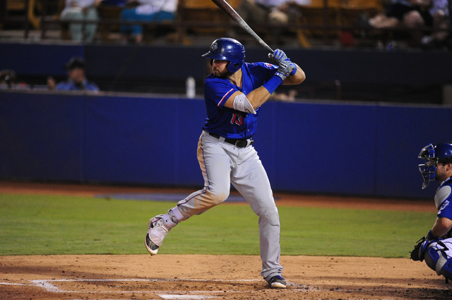 Round Rock batter Joey Gallo is shown in the fourth inning of their Triple-A minor league baseball game against Las Vegas at Cashman Field in Las Vegas Tuesday, August 16, 2016. Las Vegas won 7-5  ...