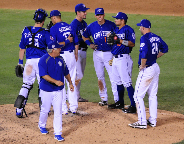 Las Vegas 51s manager Wally Backman walks back to the dugout after making a pitcher change against Round Rock in the eighth inning at Cashman Field in Las Vegas Tuesday, August 16, 2016. Las Vegas ...