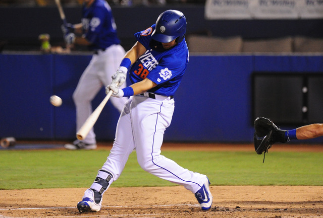 Las Vegas 51s batter Michael Conforto hits a single against Round Rock in the third inning at Cashman Field in Las Vegas Tuesday, August 16, 2016. (Josh Holmberg/Las Vegas Review Journal)