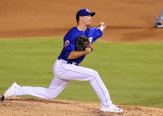 Las Vegas pitcher Chase Hutchingson delivers to Round Rock in the eighth inning at Cashman Field in Las Vegas Tuesday, August 16, 2016. Las Vegas won 7-5 in 12 innings. (Josh Holmberg/Las Vegas Re ...